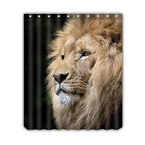 """ALL PRIDE The Lion Design Fresh Style Shower Curtain Peva Waterproof Odorless Eco Friendly Anti Bacterial Polyester Fabric No Chemical Odor Shower Curtain 60""""x72"""""""