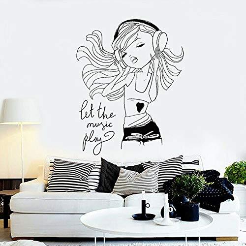 yaofale Mädchen Genießen Musik Wandaufkleber Vinyl Kopfhörer Juvenile Mädchen Schlafzimmer Raumdekoration Cartoon Charakter Abnehmbare Aufkleber 72x92cm