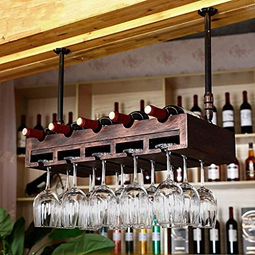 COLiJOL Estante de Alenamiento de Vino Estante de Vino Industrial Viento Retro Estante de Copa de Vino Colgante Estante de Botella de Vino Tinto Alenamiento Fácil de Instalar (Color: D)