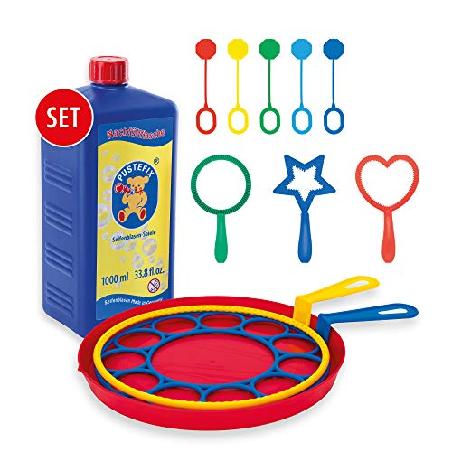 Pustefix Seifenblasen Set für Kinder I 10 Blasringe Plus 1000 ml Seifenblasenwasser I Bunte Bubbles Made in Germany I Seifenblasen Spielzeug für Hochzeit, Kindergeburtstag, Polterabend
