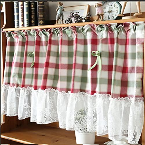 Tende corte in pizzo,Tende mezze tende stile country reticolo rosso e verde, piccola tenda, tenda dell'armadio, tenda caffè, tende a mezza asta con cuciture,Bistro,Tenda del lavandino,1 pz