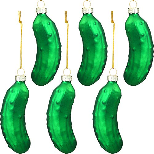 WILLBOND 6 Pieces Christmas Pickle Ornaments Sweet Pickle Blown Glass Xmas Ornaments for Christmas Tree
