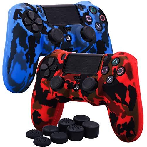 YoRHa Transferencia de agua camuflaje de impresión silicona caso piel Fundas protectores cubierta para Sony PS4/slim/Pro Mando x 2(rojo + azul) Con PRO los puños pulgar thumb gripsx 8