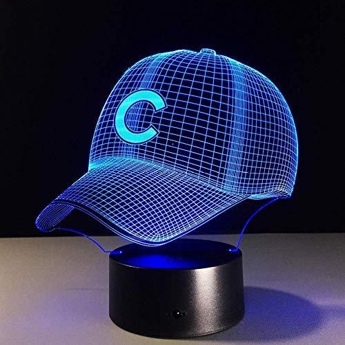 Luz nocturna pequeña Gorra de béisbol hip-hop 3D LED fantasma 3D Luz nocturna pequeña 7 colores USB5V o batería Gorra de béisbol americana holograma luz visual