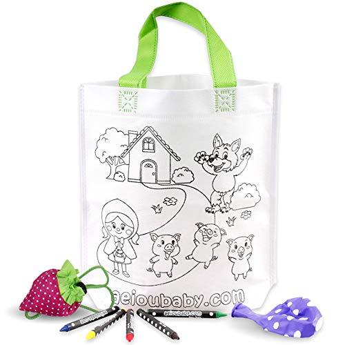 aeioubaby.com 30 Bolsas para Colorear + 1 Bolsa Reutilizable | 30 Bolsas Individuales con 5 Ceras de Colores y Globo | Regalo niños Fiestas y cumpleaños