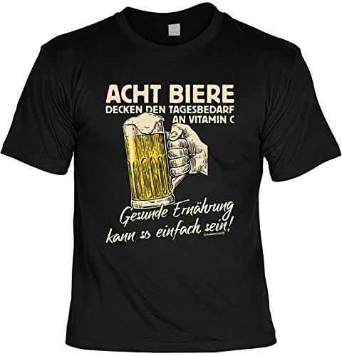 Lustiges Sprüche Shirt T-Shirt mit Urkunde Acht Biere Decken den Tagesbedarf an Vitamin C… Geschenkartikel Fun Artikel Partygeschenk Man Männer Geschenk