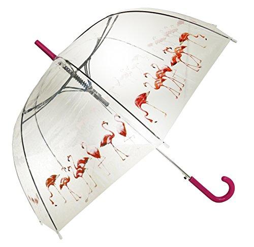 Flamingo Herden Transparent Durchsichtig Stock Regenschirm