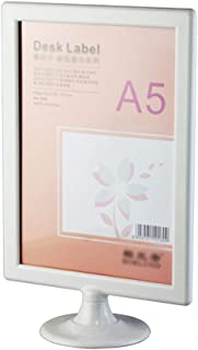 Nail Beauty Desktop Price List Holder Plastic Advertising Display A4/A5/A6 Selection White (Color : Round Base, Size : A5)