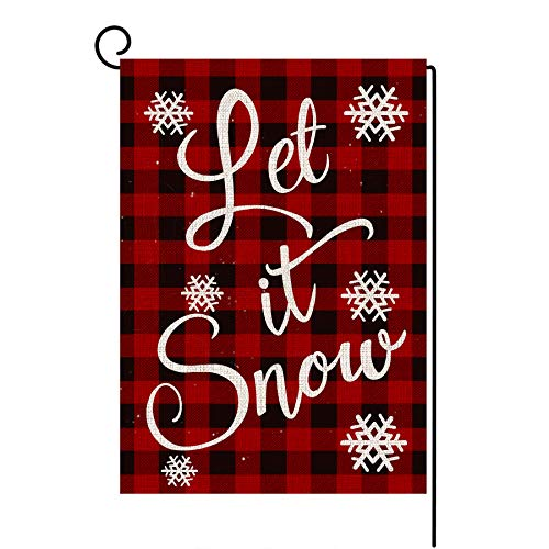 LANMEI Christmas Garden Flag Vertical Double Sided Buffalo Plaid Let it Snow Garden Flag, Christmas Winter Holiday Rustic Yard Outdoor Decoration 12.5 x 18 Inch