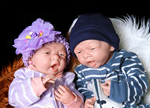Reborn Babies Twins Boy Girl Doll Preemie Anatomically Correct Completely Washable Berenguer Realistic 14 inches Real Soft Vinyl Silicone Lifelike Pacifier