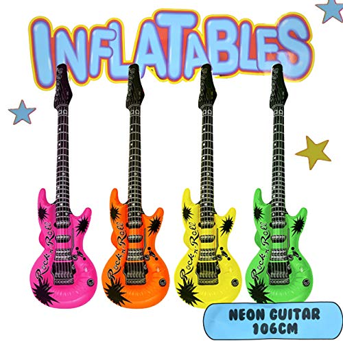 Henbrandt the Harlequin Brand Aufblasbare Gitarre Luftgitarre 3er Set Neon Bunt ca.106 cm Rock Party Deko