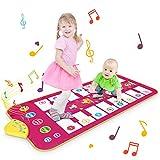 Magicfun Tanzmatte für Kinder, Klaviermatte Musikmatte Spielteppich mit 7 Tierstimmen und 8 Melodien, Lernspielzeug Geschenke für Jungen Mädchen ab über 3 Jahre alt, 110 x 52 cm