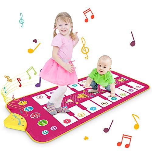 Magicfun Alfombrilla Piano, Alfombrilla Musical Alfombrilla de Baile con 7 Sonidos de Animales y 8 Melodías, Juguetes Educativos Regalos para Niños Niñas 1 2 3 Años, 110 x 52 cm