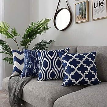 FanHomcy Navy Blue Throw Pillow Covers 4 Pack Decorative Velvet Sofa Square Cushion Pillowcases,18 x 18 inch,Geometric Quatrefoil Arrow Ogee Chevron Patterns