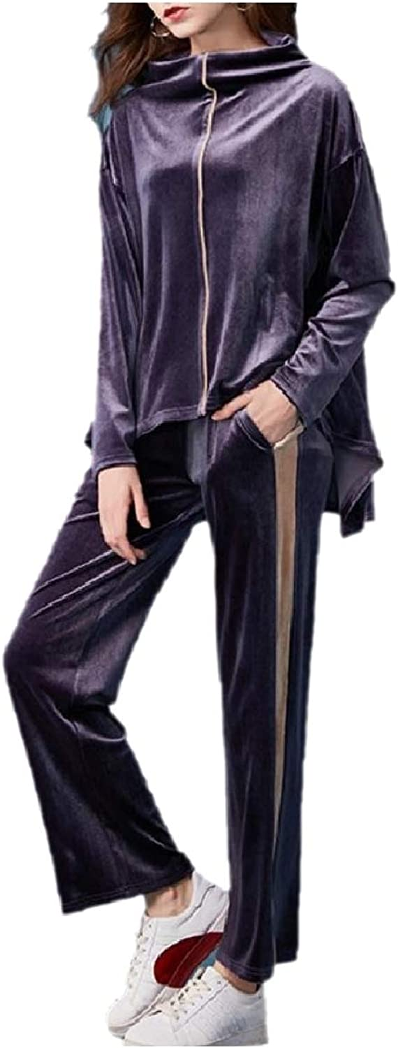 TaoNice Women ZipUp Velour Straight Irregular Cowl Neck Tracksuit Outfit