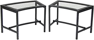 Sunnydaze Outdoor Curved Fire Pit Bench - Rustic Backyard Backless Powder-Coated Black Metal Mesh Garden, Patio, Porch and Deck Chair Seating - Set of 2