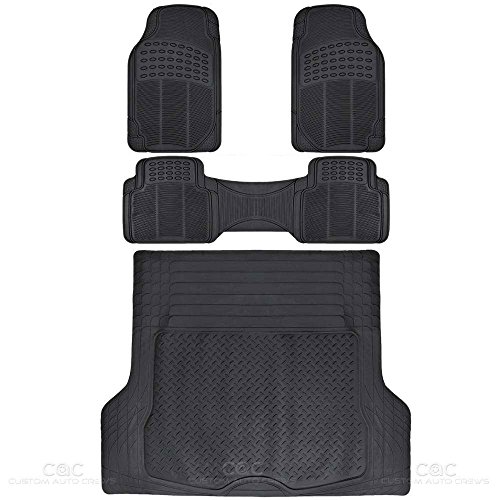 BDK MT35 Proliner Weather Rubber Auto Floor Mats and Cargo Liner-Heavy Duty 4Pc Set Fit for Car SUV Van & Truck (Black)