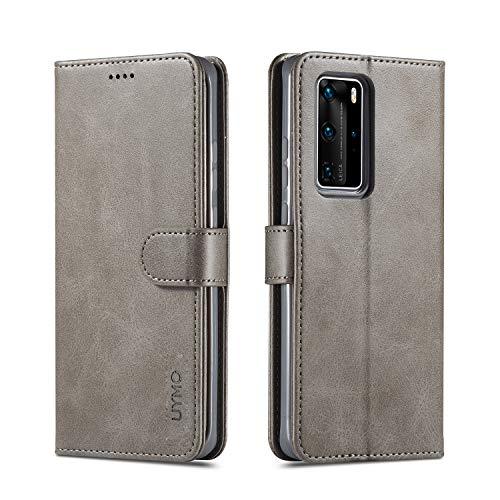 UYMO Premium PU-Leder Hülle für Huawei P40 Pro Handyhülle mit 3 Kartenfächern, Flip Schutzhülle Wallet Tasche Magnet Hülle Cover for Huawei P40 Pro (Grau)