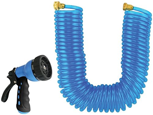 """Rocky Mountain Landscapers Select Coiled Garden Hose with 10 Pattern Spray Nozzle 50 Foot by 3/8"""" - Leakproof - Heavy duty UV stabilized - Drinking Water Safe - Solid brass fittings"""