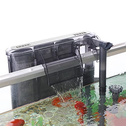 AKKEE Filtro Acquario, Sospensione a Cascata, Filtro Acquario a Parete, Pompa di Ossigeno 260 L H, Filtro Esterno per Acquario, Adatto per Acquario da 20L ~ 80L (4,2W)