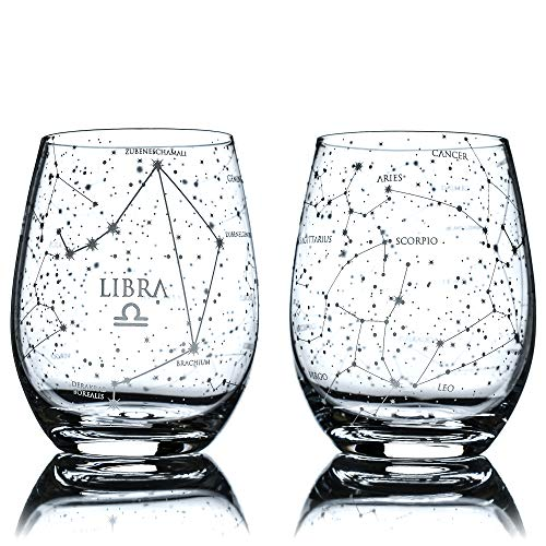 Greenline Goods Libra Stemless Wine Glasses   Zodiac Libra Set   Hand Etched 15 oz (Set of 2) - Astrology Sign Glassware