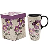 Topadorn Tall Ceramic Travel Mug 17 oz. Coffee Cups Sealed Lid With Color Box (Purple Flower)