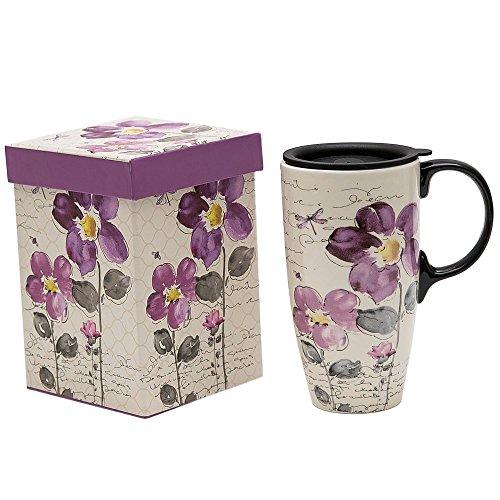 Topadorn Tall Ceramic Travel Mug 17 oz. Coffee Cups Sealed Lid With Gift Box (Purple Flower)