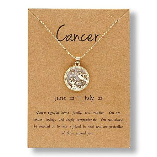 QYQMYK Collar Constelación,Cáncer Constelación Encanto Collar 12 Zodiac Horóscopo Signo Colgante para Mujeres Hombres Hombres De Acero Inoxidable Cadena De Oro Simplicidad Moda Joyería Regalo
