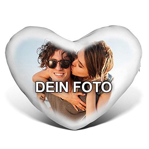 PhotoFancy® - Herzkissen mit Foto Bedrucken - Fotokissen in Herzform selbst gestalten (Herzkissen mit Foto im Verlaufsrahmen)