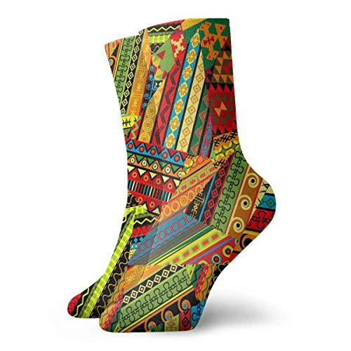Drempad Luxury Calcetines de Deporte Ethnic Colorful Pattern Debris Adult Short Socks Cotton Fun Socks for Mens Womens Yoga Hiking Cycling Running Soccer Sports