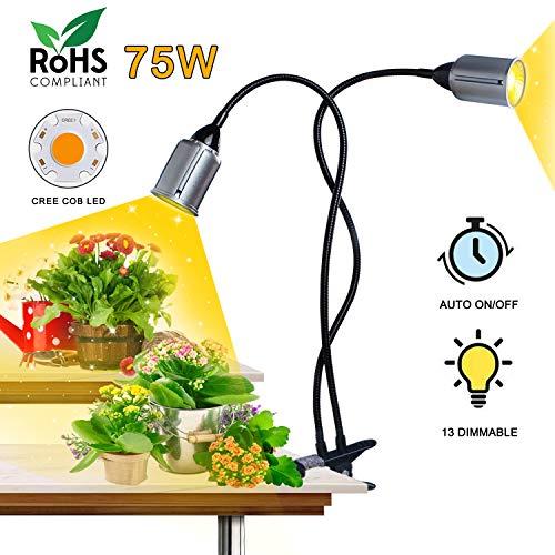 Niello Cob led Grow Light 75w Sunlike Grow lamp 3/9/12H Timer LED Pflanzenlampe Auto ON/Off Vollesspektrum Zweikopf Wachstumslampe für Sämlinge, Wachstum, Blüte