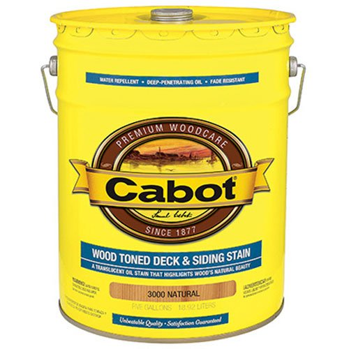 CABOT SAMUEL INC 3000-08 5 Gallon, Natural, Wood, Dark Toned Deck & Siding Stain, Penetrating Protection Against Sun & Damaging Weather Elements, Water Repellent, Easy to Apply, 1 Coat Coverage, 5 gal