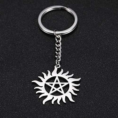 Xssbhsm Llavero Shinning Sun Pentagram Charm Car Denatural Dean Acero Inoxidable Llavero Key-Anillo Soporte Colgante para Bolsa (Color : Key Chain)
