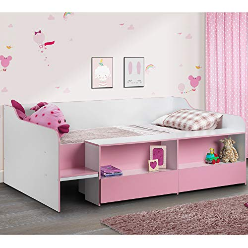 Happy Beds Cabin Bed Low Sleeper Pink Storage Frame Bedroom Kids Comfort 3' Single 90 x 190 cm