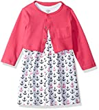 Luvable Friends Baby Girls' Dress and Cardigan, Anchors, 3-6 Months