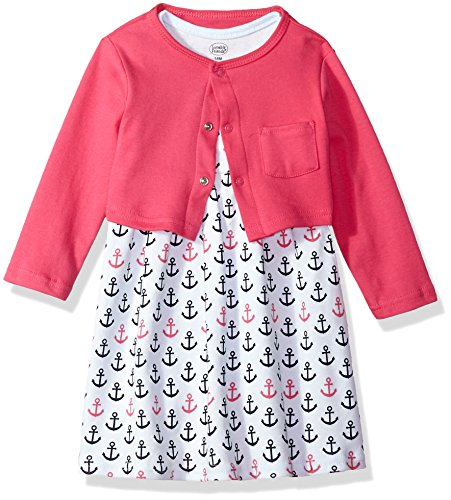 Luvable Friends Baby and Toddler Girl Dress and Cardigan, Anchors, 6-9 Months