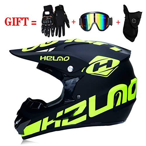 M-GLT Motocross Helmet/Motorrad Crosshelm, mit Handschuhe Sturmmaske und Brille Geeignet für Kinder und Erwachsene,Black,M(54~55)