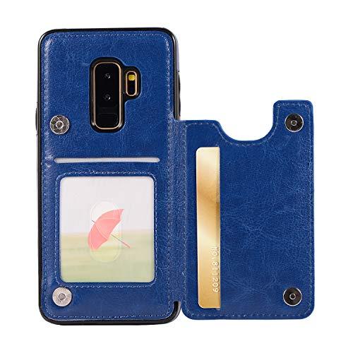 ZCXG Kompatibel Mit Handyhülle Samsung Galaxy S9 Plus Hülle Leder,Samsung Galaxy S9 Plus Hülle Silikon,Schutzhülle Leder Tasche mit Kartenfach Ständer Funktion Brieftasche Flip Cover - Blau