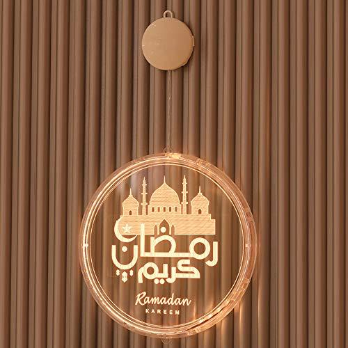Eid Ramadan Fairy Light, Moon and Star Islam Mubarak Decoration Islamic Muslim Party Backdrop Wall Novelty Lights for Outdoor Indoor Patio Bedroom Holiday Decor (16cm, A)