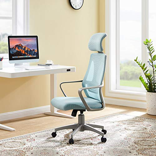 Ergonomic Office Chair Tribesigns Mesh Computer Chair with Lumbar Support, Swivel Desk Chair with Armrest and Headrest, High Back Task Chair for Office Home Gaming, Blue