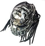 LHY TRAVEL Máscara Facial Completa Casco Pintado a Mano, Casco de Moto Predator, Personalidad Máscara de Cosplay Creativa con Trenzas Tejidas a Mano Casco de Motocicleta (Máscara Desmontable),S