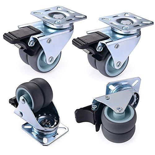 YTTX Rollen für Bürostuhl, robuste Doppelrollen, Gummirad mit Bremse für Möbel, Tisch, Trolley, Werkbank, Garage (50 mm, 4 Stück) Grau