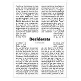 codiarts. Poster Typographie DIN A1 – Desiderata – règles de vie – Max Ehrmann – sagesse, citation – Idéal pour salle d'attente, couloir, foyer – Dimensions : 59,4 x 84 cm