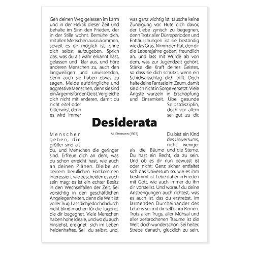 codiarts. Typografie Poster Din A1 - Desiderata, Lebensregeln - Max Ehrmann - Lebensweisheit, Zitat, Motivation - perfekt für Wartezimmer, Flur, Foyer, Größe: 59,4x84cm