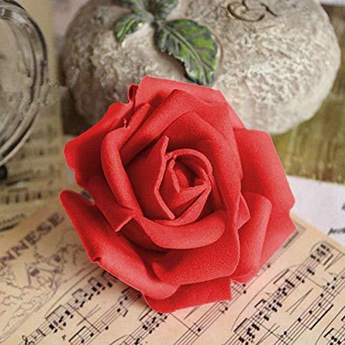 Plantas artificiales de espuma 50 rosas artificiales para fiestas, bodas, decoración del hogar, color rojo