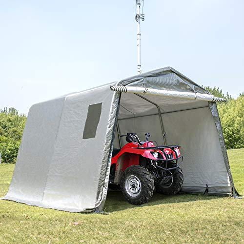 Happybuy Portable Storage Shed 6x6x7.8 ft, Shed in A Box with Roll up Door, Storage Shelter Logic Portable Garage Shelter Steel Metal Peak Roof Grey for Motorcycle Garden Patio Storage