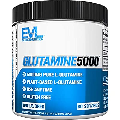 Evlution Nutrition L-Glutamine 5000, 5g Pure L Glutamine in Each Serving, Plant Based, Vegan, Gluten-Free, Unflavored Powder (60 Servings)