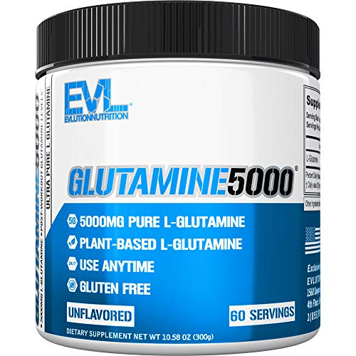 Evlution Nutrition L-Glutamine 5000, 5g Pure L Glutamine Per Serving, Post Workout, Nitrogen Transporter, Immune Support, Vegan, Gluten-Free, Unflavored Powder (60 Servings)