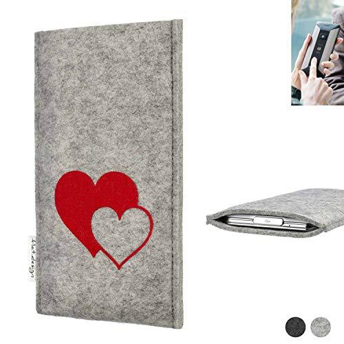 flat.design Handy Hülle für Planet Computers Cosmo Communicator Faro mit Herzen Filz Schutz Tasche Case Sleeve handgemacht