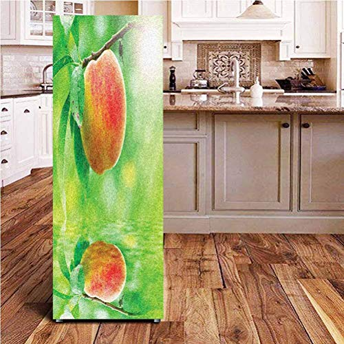 Angel-LJH Peach ONE Piece Door Sticker,Ripe Nectarine on Branch Over Water with Reflection and Sun Rays Picture Wall Decal Hallway Mural for Door/Wall/Fridge,24x70